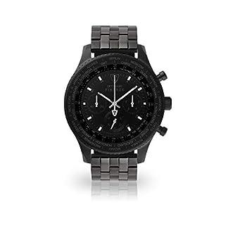 DETOMASO Firenze XXL Reloj Caballero Cronógrafo Analógico Cuarzo Negro Brazalete de Acero Negro Esfera Negra DT1045-D-867