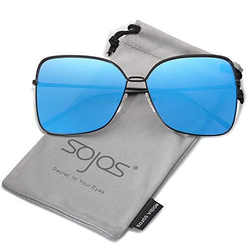 SOJOS Damen Sonnenbrille Neue Modell Metall Flach Linsen Groß SJ1082 (C13 Schwarz Rahmen/Blau verpiegelte Linse)