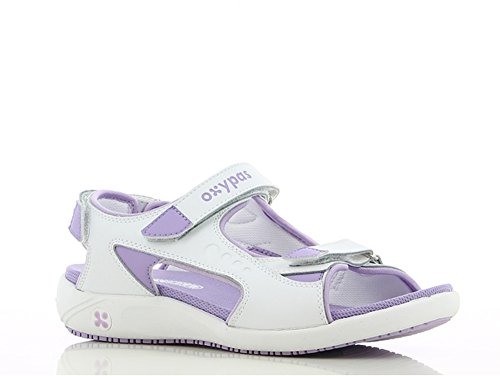 Linea Di Scarpe Oxypas, Scarpa Professionale, Comodo Sandalo In Pelle Olga, Antistatico (esd), In Molti Colori Bianco - Viola