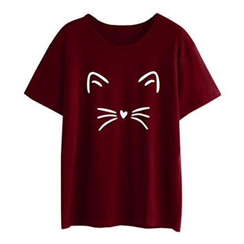 TIFIY Dame Mode Beilufig Kurzarm O-Ausschnitt Katze Partterned Kausal Bluse Oberteile T-Shirt