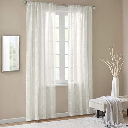 Gardinen Schals mit Stickerei Vorhänge Schlafzimmer Transparent Vorhang für kleine Fenster Anya Off White, kurz (2er-Set, je 175x140cm)