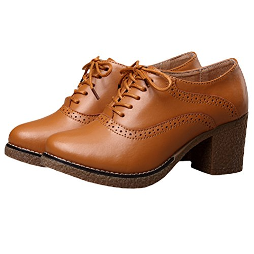 Vogstyle Femme Handmade Vintage Derbies Oxford en cuir Style 1 Brown