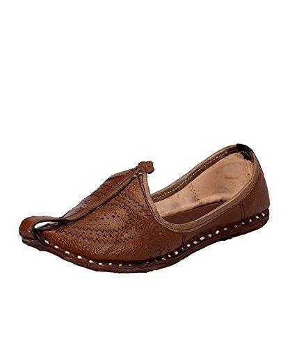 Manwaar Men's Brown Leather Rajasthani Juttis 10 UK