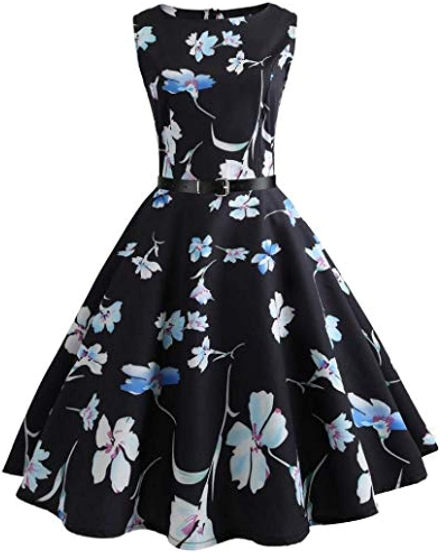 ... FuweiEncore Vestito da Estate delle Vestito Donne Hepburn Abiti Retro  Vestito delle Partito della Stampa Floreale f4dfdabf904