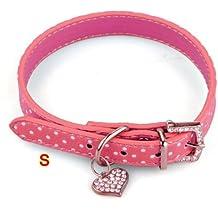 Collar Correa Cuero PU Color Rosa Ajustable para Perro Mascota S