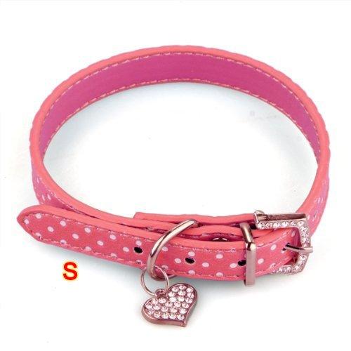 Collare Regolabile per Pet Animale Rosa PU Cane Gatto Taglia S