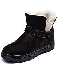 Mujeres Invierno Suede Botas de Faux Fur Lined Caliente Plano Nieve Zapatos Slip on Impermeable Botines 35-44 Negro Beige Gris Vino-Rojo