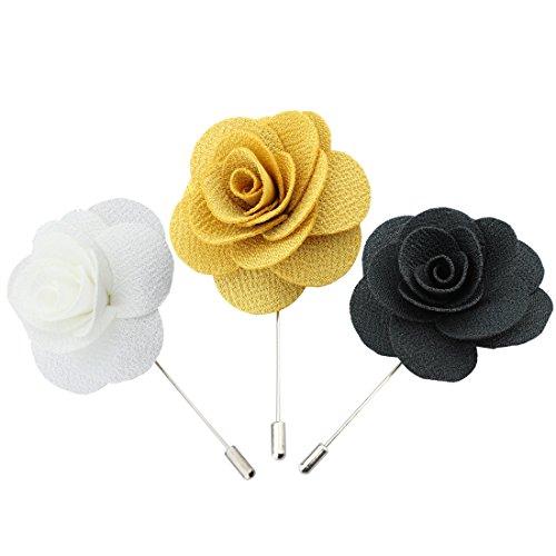 Handgefertigt Brosche Blume im Knopfloch Revers Blume für Anzug 3er-Pack (Ansteckblume Hochzeit)