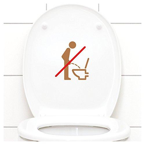 Grandora WC Deckel Sticker - Bitte im Sitzen pinkeln Schild I kupfer 11 x 12 cm I Piktogramm WC Bad Badezimmer Toilette Klodeckel Aufkleber W733 - Kupfer Schild