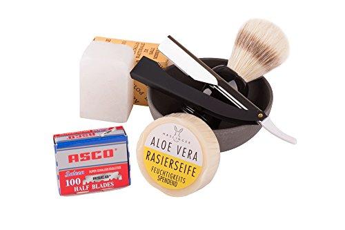 Rasurset -Exclusiv- 6-teiliges Rasierset für Männer -- Klassische Nassrasur -- Herren Geschenkset -- Hochwertiges Rasiermesser (Shavette) mit Wechsel-Klingen, Rasierseifenschale, Rasierpinsel, Rasierseife - für den anspruchsvollen Mann - Klinge nach Wahl (Asco)