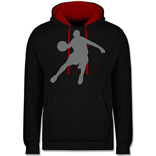 Basketball - Basketballspieler - Kontrast Hoodie Schwarz/Rot