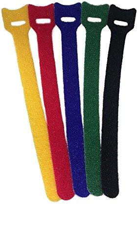 25x Klettband Kabelbinder Klett 15cm farbig bunt sortiert 150x12mm (jeweils 5 Stück rot, gelb, blau, grün und schwarz) mit extra-starkem Klett (25er-Pack) (Kabelbinder Farbige)