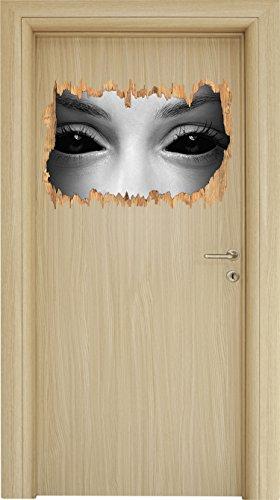 Böse Dämonenaugen Kunst B&W Holzdurchbruch im 3D-Look , Wand- oder Türaufkleber Format: 62x42cm, Wandsticker, Wandtattoo, - Halloween-gemälde Vampir-gesicht