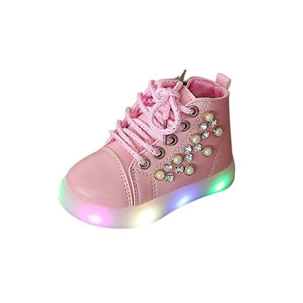 Zapatillas LED para niños Niños Baby Girls Pearl Crystal Led Light Luminous Running Sport Botas Zapatos 4