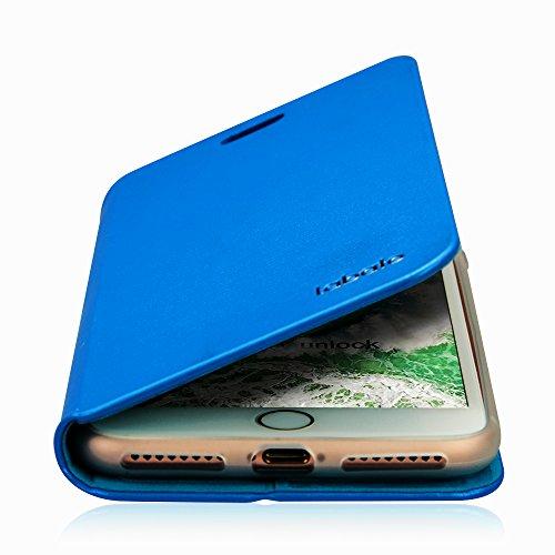 Labato EINFACH PU Lederhülle im Bookstyle für iPhone 7, mit unsichtbarem Magnetverschluss, Handytasche in Gold Lbt-IP7-10Q84 blau