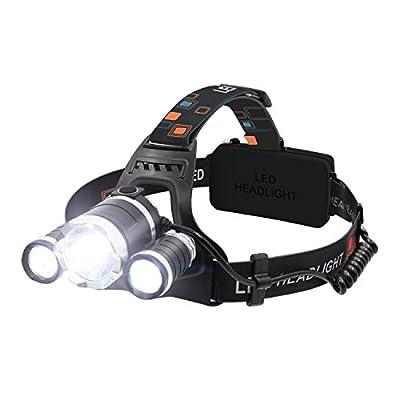 LED Stirnlampe, OBOSOE Wiederaufladbare LED Kopflampe Superhelle LED Stirnlampe 4 Modi ideal für Laufen, Höhlenforschung, Joggen, Fahrrad, Camping, Wandern usw (2 x 18650 Lithium-Ionen Akku enthalten)