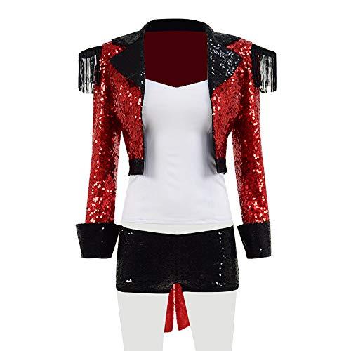 Verkäufer Circus Kostüm - Yewei Damen Paillette Rot Zirkus Show Kostüm Halloween Karneval Kostüm Outfit (Rot, M)
