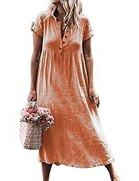 55517cb80f Glomixs Vestidos De Fiesta para Bodas Talla Grandes Vestidos Playa Mujer  Vestidos Casuales Vestido Midi Vestido