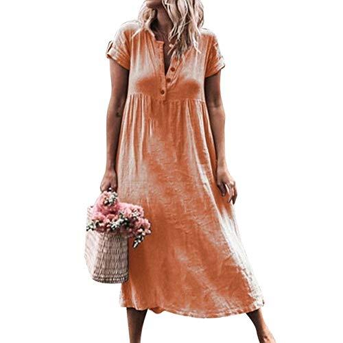 496188cca4f7 Vestiti Estivi Donna Taglie Forti Estate Vestiti Casual Eleganti Corti  Manica Corta V Collo Cotone E