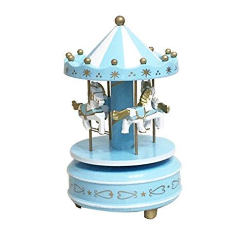 Isuper Madera Merry-Go-Round de música del carrusel Embroma la Caja Regalo de los Juguetes Wind-Up Musical Box para su Casa