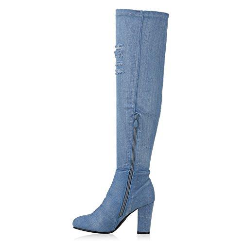 Stiefelparadies Damen Stiefel Overknees Wildleder-Optik Blockabsatz Schuhe Langschaftstiefel Boots Schleifen Flandell Blau Avelar
