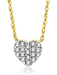 9053aaaa03aa Orovi Collar Señora Corazón con cadena en Oro Amarillo con Diamantes Talla  Brillante 0.08 ct Oro