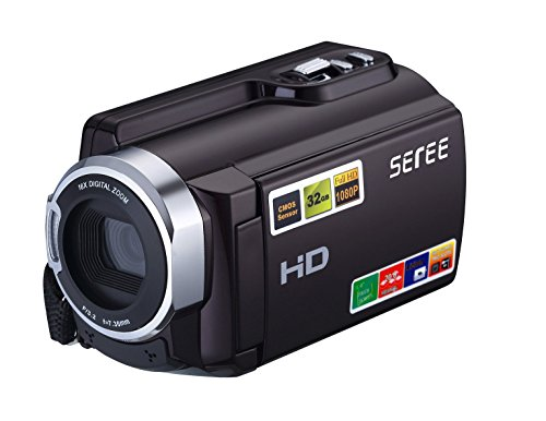 SEREE FHD 1080P Camcorders WIFI Connection 60FPS Dual SD Slot Night Vision External Battery 20MP 16X Digital Zoom 3 Inch Touch Screen Camera NP-FV5x2 HDV-501
