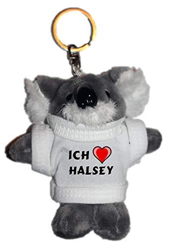SHOPZEUS Plüsch Beutelbär Schlüsselhalter mit T-Shirt mit Aufschrift Ich Liebe Halsey (Vorname/Zuname/Spitzname)