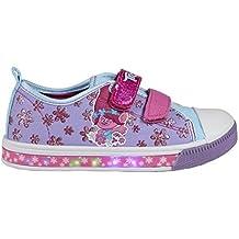 Trolls Poppy Zapatillas con Luz - Bamba Baja Cierre de Velcro, con Luces LED Color Rosa y Lila