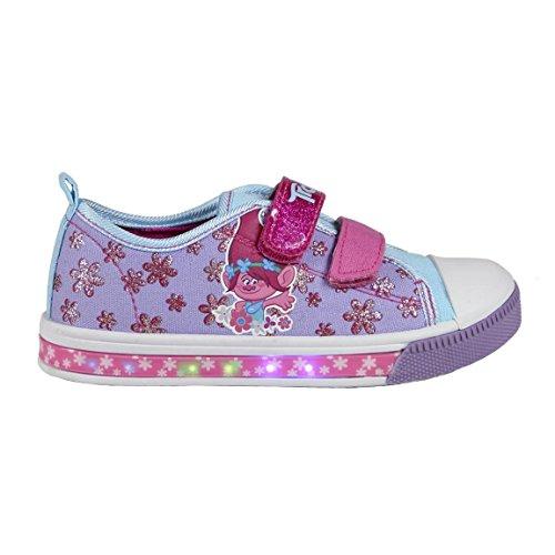 Trolls-Poppy-Zapatillas-con-Luz-Bamba-Baja-Cierre-de-Velcro-con-Luces-LED-Color-Rosa-y-Lila