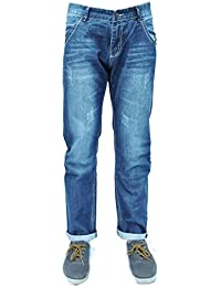 Forever Young Mens Classic Straight Leg Jeans Designer Distressed Ripped Slim Regular Fit Stretch Straight Leg Jeans W30 L34