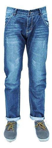 Forever Young Mens Classic Jeans mit geradem Bein Designer Distressed Zerrissene Slim-Fit-Jeans mit geradem Bein W32 L34 - Classic Distressed Jeans