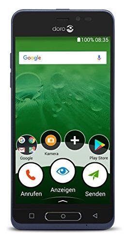 Doro 8035 12,7 cm (5 Zoll) Smartphone (4G, LTE, 5MP Kamera, 16GB Speicher, WiFi, GPS) dunkelblau
