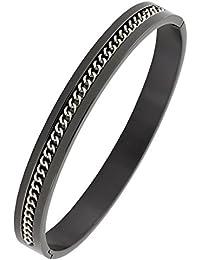 9de5df2acaff Designer Gourmette Argent Noir en Acier Inoxydable Chirurgical 316L gratuit  pour ouvrir Taille Kada Bracelet homme
