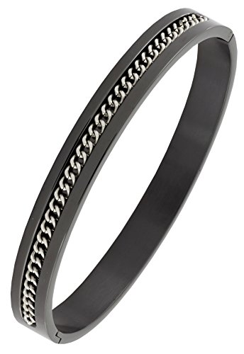 Designer Curb Silver Black 316L Surgical Stainless Steel Openable Free Size Kada Bangle Bracelet Men  available at amazon for Rs.804