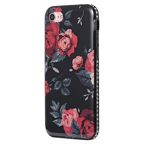 Ecoway iPhone 7/7G (4,7 zoll) IMD Case Cover, TPU Série de fleurs de porcelaine Shell autour du diamant Housse en Housse de protection Housse pour téléphone portable pour iPhone 7/7G (4,7 zoll) - A6 A1