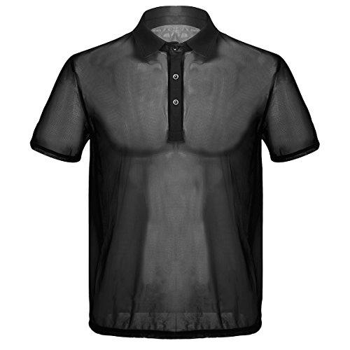 Tiaobug Herren Kurzarm-Hemd Kentkragen Mesh Shirts Freizeithemd Sommer T-Shirt Männer Transparent Shirt Unterhemd Top Oberteil Clubwear M L XL Schwarz Medium -