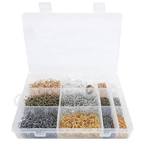 TOAOB 3361 Stück 6 Farben Biegeringe Spaltringe und Ohrring Haken Set mit Messing Ring für Schmuckherstellung Werkzeug
