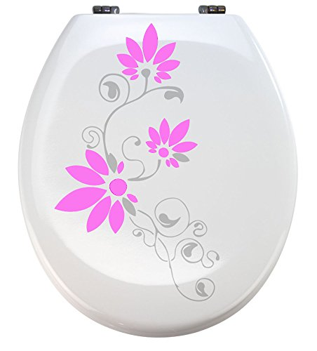 Grafix Aufkleber WC Toiletten Deckel St02 für Pressalit silbergrau/rosa