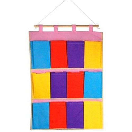 Blueqier multicouche 12 poches mural Porte Chiffon coloré à suspendre Sacs de rangement Case POCKET organisation