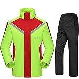 RFJJ Outdoor-Motorrad-Regenanzug für Männer Wiederverwendbare Regenbekleidung (Regenjacke und Regenhosen-Set) Erwachsene Wasserdichte regendichte Winddichte Kapuze (größe : L)