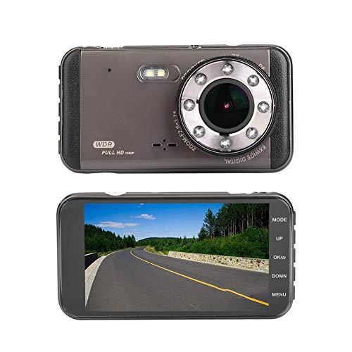 Driving recorder,4,0 Zoll 170 ° Auto Dash Cam Auto DVR HD 1296P ADAS Dual Recorder Fahrtenschreiber Kamera Recorder mit 6 Glaslinse, AIT/Mstar High End Chipmaster,Nachtsichtfunktion,viel Zubehör Aida-form