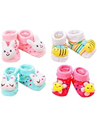 CUTEABLY NINOS World Baby Cotton Cartoon Face Socks Shoes, 0-6 M (Multi) - Set of 2 Pair