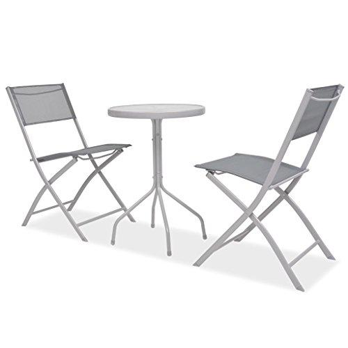 Festnight 3-teiliges Outdoor Bistroset Balkonset Textilene Gewebe Garten Terrasse Sitzgruppe Bistrotisch mit 2 Stühlen Grau