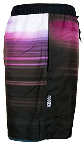 GUGGEN MOUNTAIN Maillot de bain pour homme de materiau high-tech slip shorts *High Quality Print* Noir-Bleu