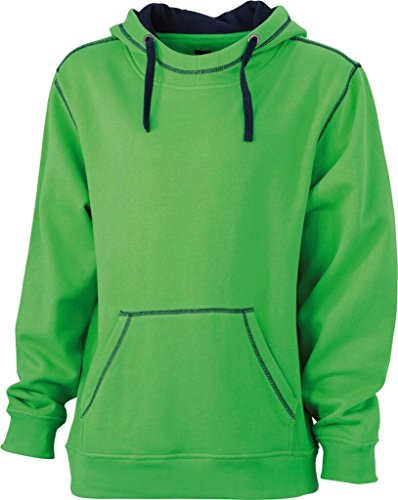 JAMES & NICHOLSON Sweatshirt a capuche contrasté vert/marine