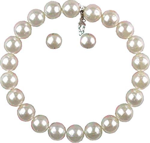 Damen Kostüm-Party Kostüm Schmuck 50s Jahre Perlenketten + ohrring-satz
