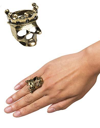 (costumebakery - Kostüm Accessoires Zubehör König King Totenkopf Skull Ring mit Krone Crown, perfekt für Halloween Karneval und Fasching, Gold)