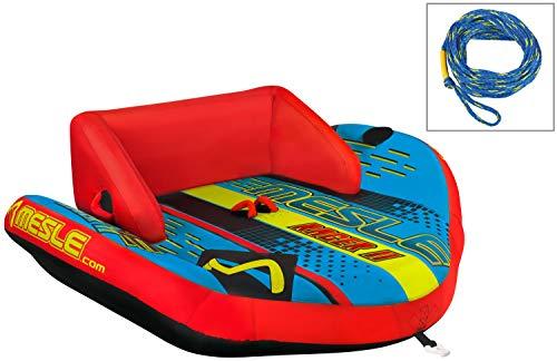 MESLE Tube Package Racer 2, Set mit 2P Schleppleine, Towable-Couch, Fun-Tube, blau-rot, Multirider für Zwei Personen, aufblasbar, ziehbar, 185cm x 216cm, Familie, Kinder, Boston Ventil -