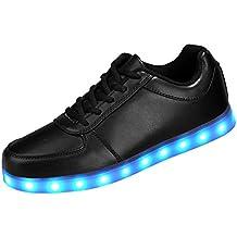 SAGUARO® Unisex 8 Colors USB Carga LED Luz Luminosas Flash Zapatos Zapatillas de Deporte Para Hombres Mujeres Blanco